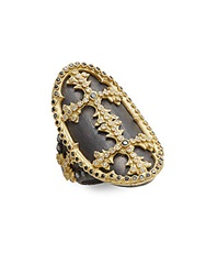 Armenta Old World Black Diamond White Diamond Oxidized Sterling Silver And 18K Yellow Gold Cross Ring Silver Gold