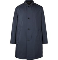 Loro Piana Sebring Windmate Storm System Suede Trimmed Shell Coat Navy