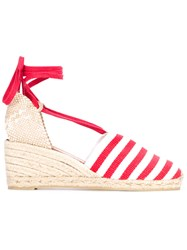 Castaner Wedge Espadrille Sandals Women Cotton Leather Rubber 37 Red