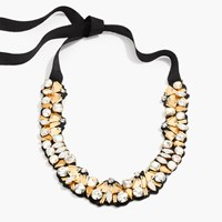 J.Crew Bead And Crystal Fabric Backed Necklace Antique Gold