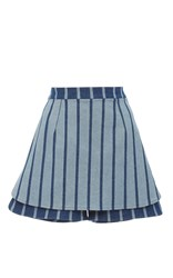 Christina Economou Striped Denim Skort