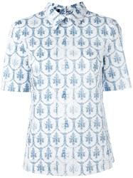 Jil Sander Navy Tile Print Collar T Shirt Blue