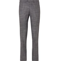 Kiton Slim Fit Puppytooth Cashmere Virgin Wool Silk And Linen Blend Suit Trousers Multi