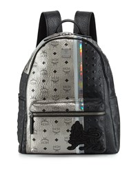 Munich Lion Logo Canvas Backpack Silver Mcm