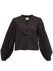 Khaite Suzanna Cotton Blouse Black
