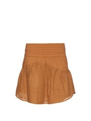 Cecilie Copenhagen Pico Cotton And Silk Blend Mini Skirt Camel