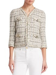 Edward Achour Four Pocket Braid Trim Short Jacket Beige