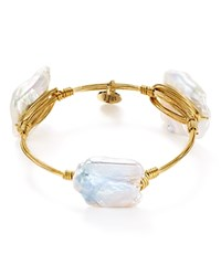 Bourbon And Boweties Cultured Freshwater Pearl Bangle White