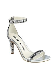 Anne Klein Ossana Leather Pumps Silver