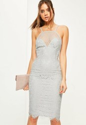 Missguided Grey Sweetheart Lace Midi Dress
