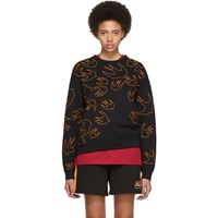 Mcq By Alexander Mcqueen Black And Orange Embroidered Swallow Signature Sweatshirt