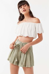 Urban Outfitters Uo Leaf Tie Belt Short Green