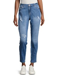 Noisy May Distressed Straight Leg Jeans Blue