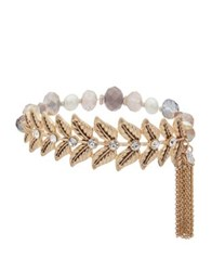 Lonna And Lilly Faux Pearl Crystal Leaf Charm Bracelet Rose Gold