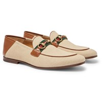Gucci Brixton Webbing Trimmed Horsebit Collapsible Heel Canvas And Leather Loafers Ecru
