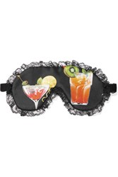Dolce And Gabbana Lace Trimmed Printed Silk Eye Mask Black