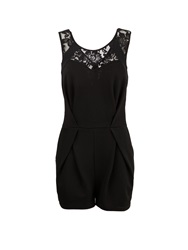 Morgan Patterned Lace Insert Short Playsuit Black