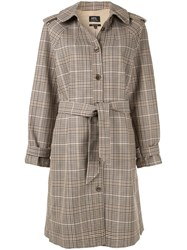A.P.C. Ava Checked Trench Coat Brown