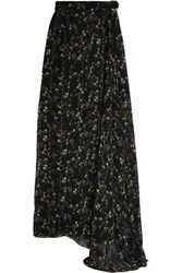 Preen By Thornton Bregazzi Merrick Floral Print Silk Georgette Wrap Skirt Black