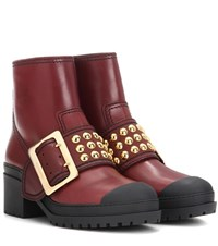 Burberry Whitchester Leather Boots Red