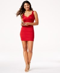 Emerald Sundae Juniors' Wrap Front Bodycon Dress Red
