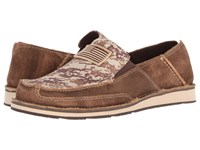 Ariat Cruiser Antique Mocha Washed Suede Sand Camo Print Slip On Shoes Brown
