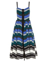 Fendi Wave Zip Through Midi Dress Blue Multi