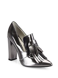 Alice Olivia Cade Kilted Metallic Leather Point Toe Pumps Gunmetal