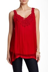 Monoreno Sheer Double Layer Sleeveless Silk Blouse Red