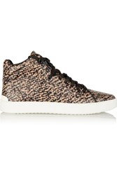Rag And Bone Kent Textured Leather High Top Sneakers Brown