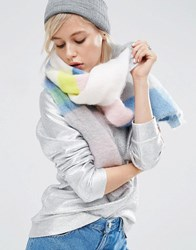 Asos Oversized Long Fluffy Scarf In Blocked Pastel Colours Multi