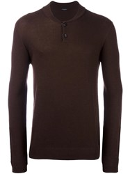 Roberto Collina Buttoned Textured Pullover Brown