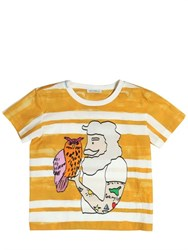 Dolce And Gabbana Owl And Man Printed Cotton Jersey T Shirt