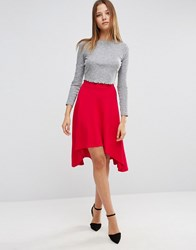 Asos Midi Skater Skirt With High Low Hem Red Pink