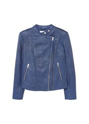 Mango Zip Leather Jacket Blue