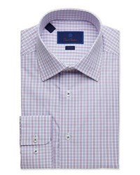 David Donahue Trim Fit Box Check Dress Shirt Purple