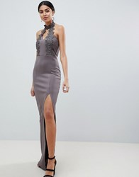 Ax Paris Maxi Dress With Lace Detail And Side Split Grey