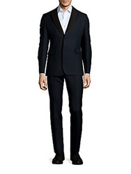 Valentino Wool And Mohair Solid Suit Black