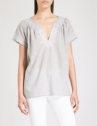 The White Company Cotton Blend Blouse Pale Grey