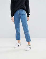 Moss Copenhagen Mom Jeans With Reconstructed Panel Lt Blue