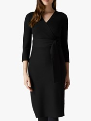 Jaeger Jaegar Ribbed Merino Knit Dress Black