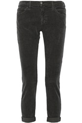 Current Elliott The Fling Mid Rise Corduroy Slim Boyfriend Jeans Gray