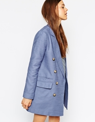Asos Pea Coat With Double Breasted Detail Blue