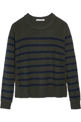 Autumn Cashmere Buttoned Striped Sweater Army Green