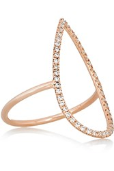 Diane Kordas Teardrop 18 Karat Rose Gold Diamond Ring
