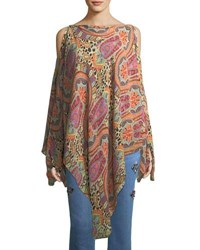 Etro Paisley And Leopard Print Cold Shoulder Poncho Coverup Red