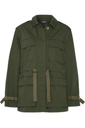 Theory Thornwood Grosgrain Trimmed Cotton Twill Jacket Army Green