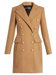 Balmain Double Breasted Wool And Cashmere Blend Coat Camel