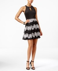 Guess Lace Mesh Fit And Flare Halter Dress Black Ivory