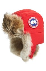 Canada Goose Women's Down Fill Aviator Hat With Genuine Coyote Fur Trim Red